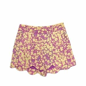 Darling ikat linen high waisted scalloped shorts